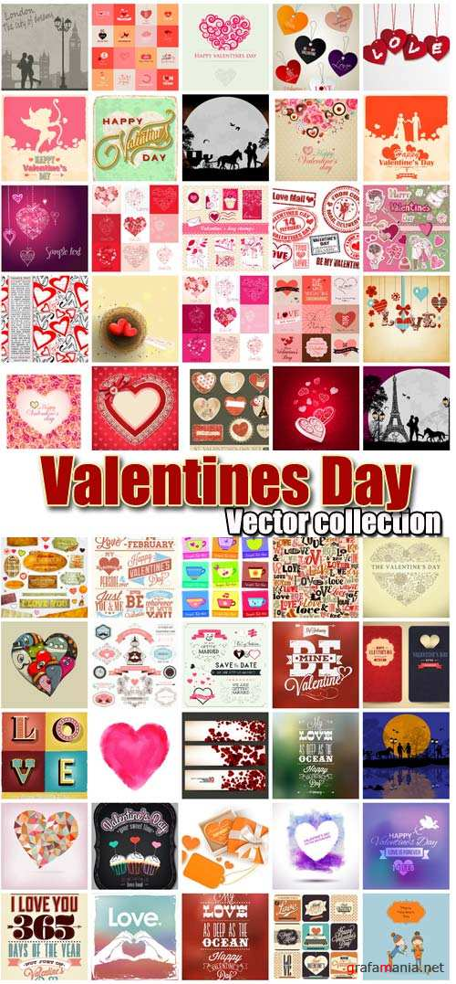 Valentine's Day romantic backgrounds, vector hearts # 16