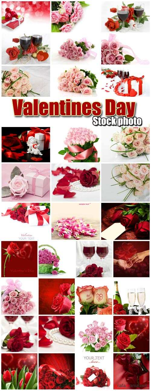 Valentine's Day romantic backgrounds, roses, hearts # 21 - stock photos