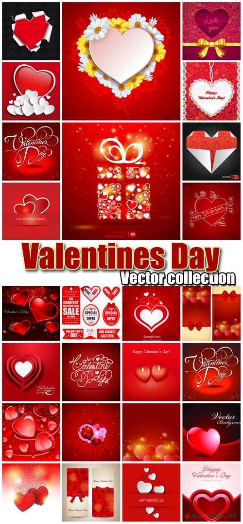 Valentine's Day romantic backgrounds, vector hearts # 13