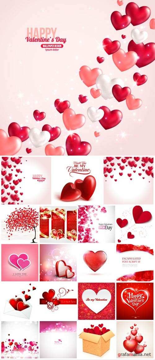 Valentine's Day, romantic backgrounds, vector hearts #23