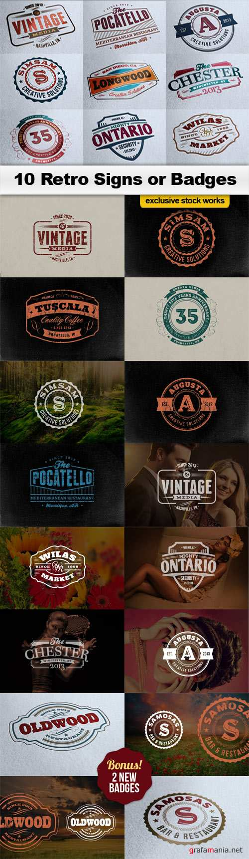 10 Retro Signs or Badges