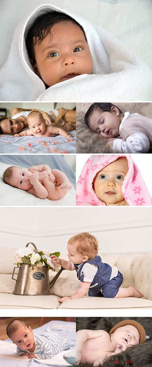 Stock Photo Newborn baby sleeping with colored hat