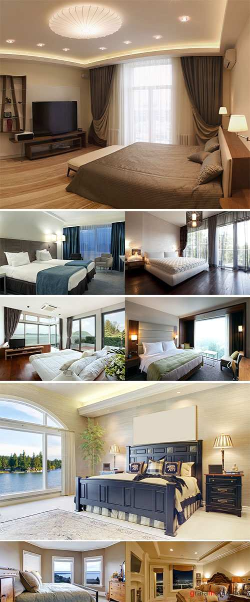 Stock Photo Interior of designer bedroom with beautiful view from window