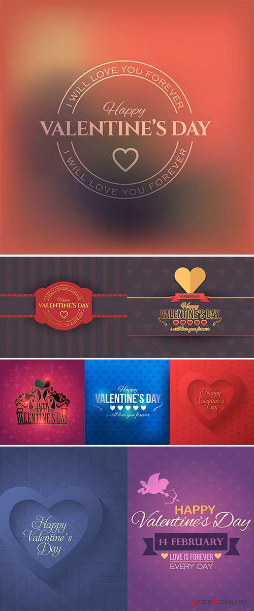 Stock Happy Valentine's Day Flat Background