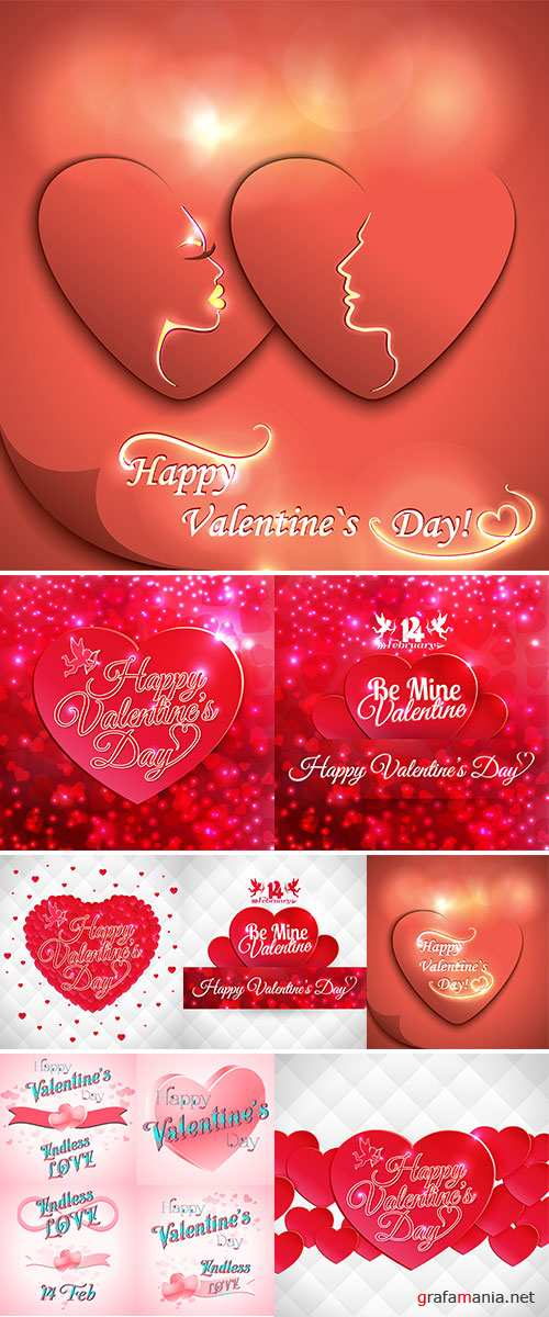 Stock Happy Valentine's Day card with hearts and lettering