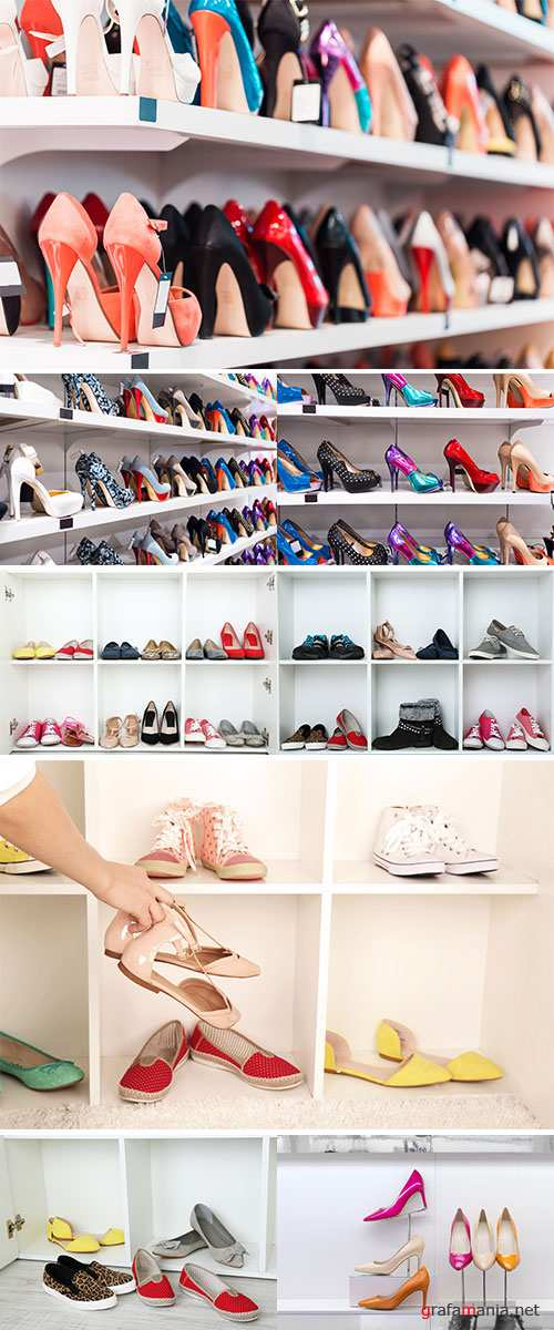Stock Photo Collection of shoes on shelves