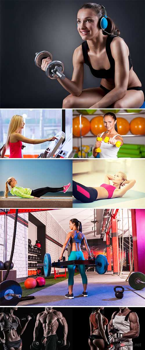 Stock Photo Beautiful sporty woman doing exercise on the floor