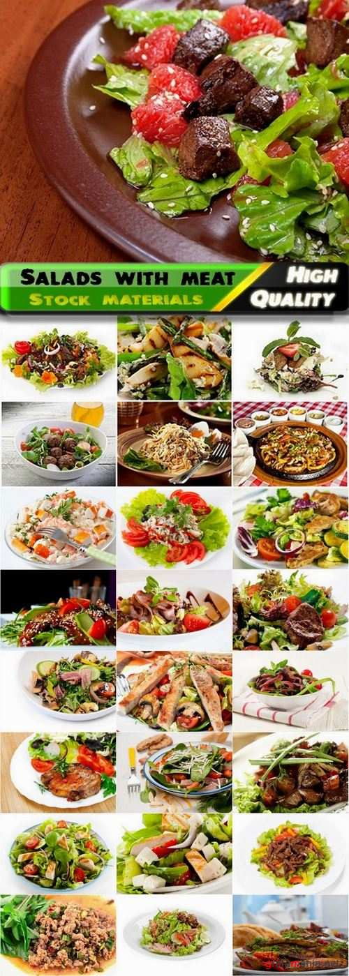 Vegetable salads with meat and garnish - 25 HQ Jpg