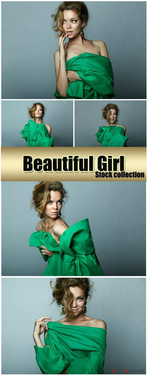 Beautiful girl in green - stock photos
