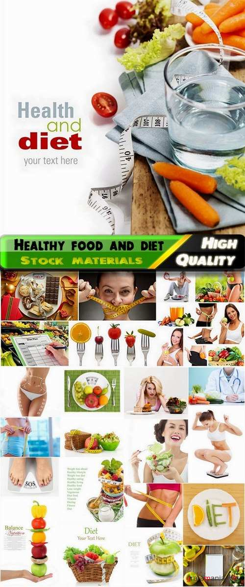 Healthy food and people on diet - 25 HQ Jpg