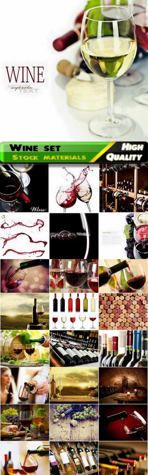 White and red wine in glasses and bottles and wine cellars - 25 HQ Jpg