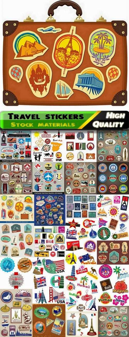 Travel labels and stickers teplate design - 25 Eps