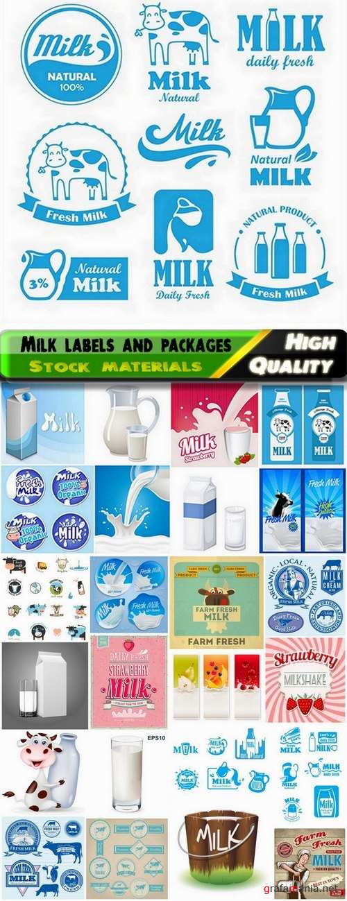 Packages labels logos of milk - 25 Eps