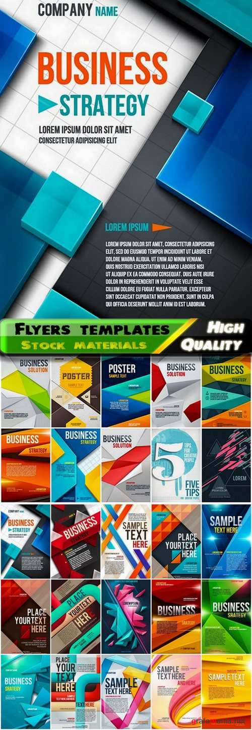 Flyers template design collection in vector from stock #46 - 25 Eps