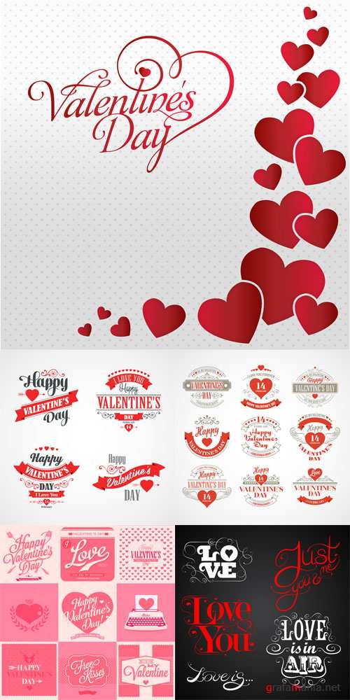 Vector Set - Happy Valentines Day Lettering Card
