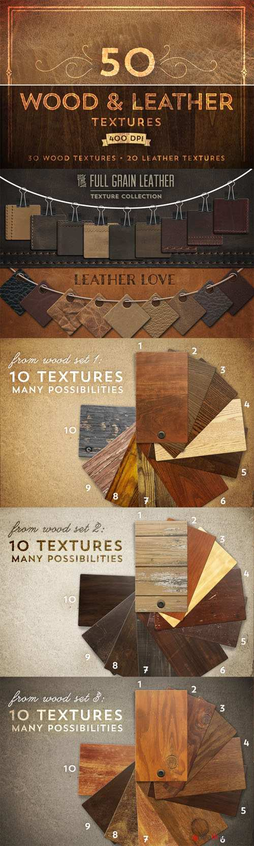 50 Wood & Leather Textures - CM 22188