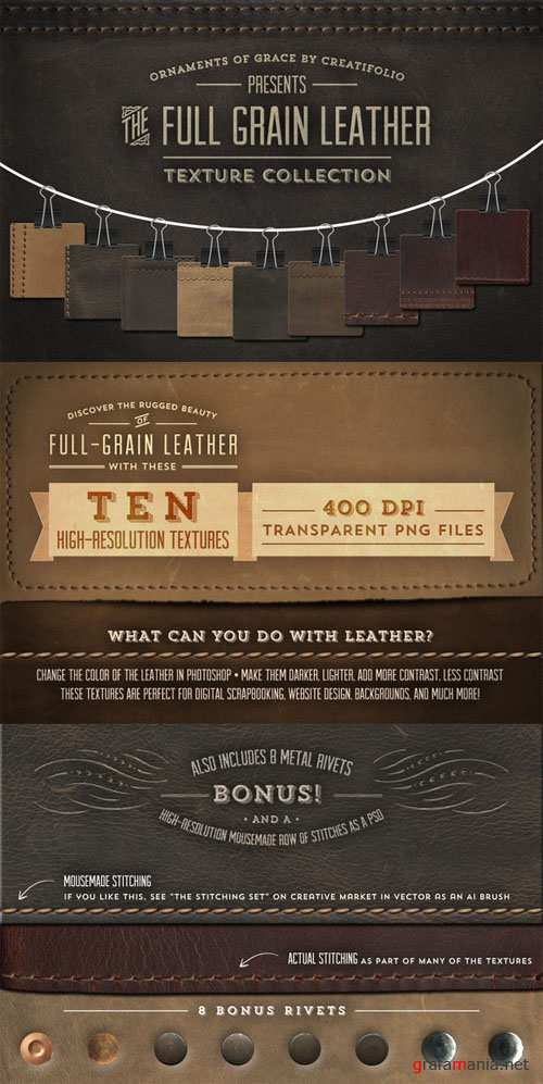 Full-Grain Leather Textures - PNGs - CM 6319