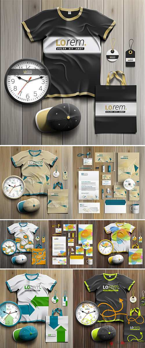 Stock Creative corporate identity template design with color cubes. Business stationery