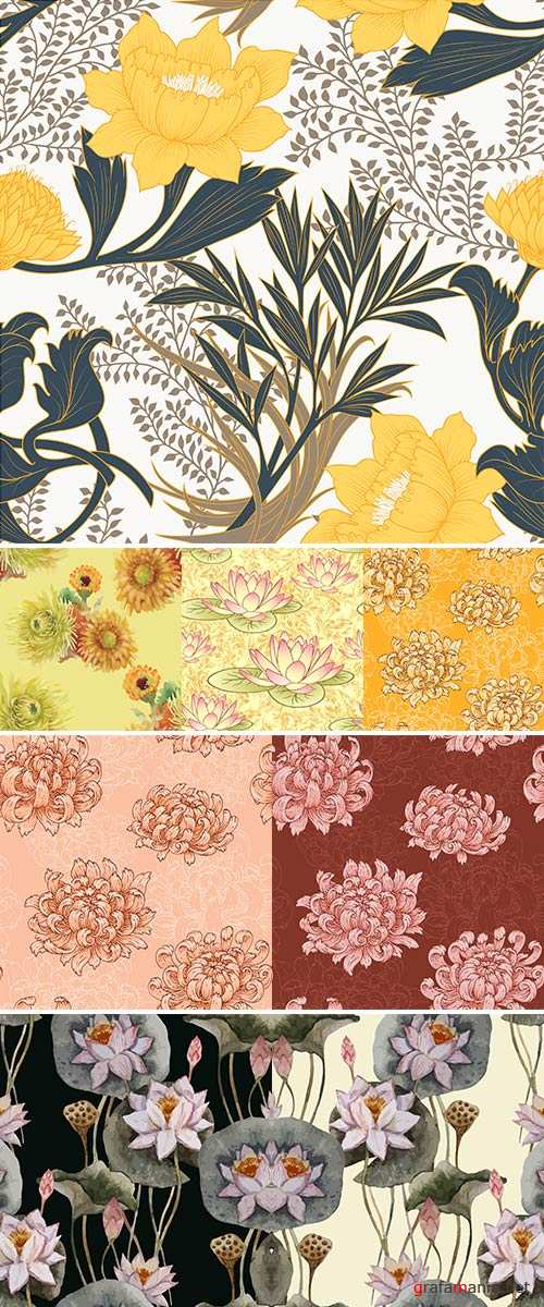 Stock The seamless pattern with pink chrysanthemums