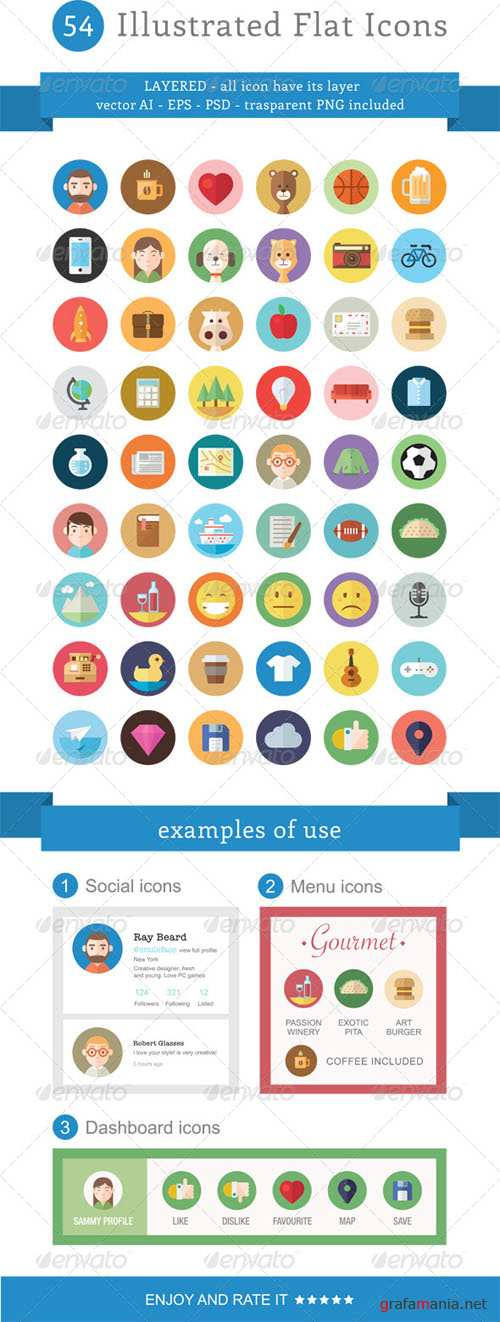 Graphicriver - 54 Illustrated Flat Icons 5947600