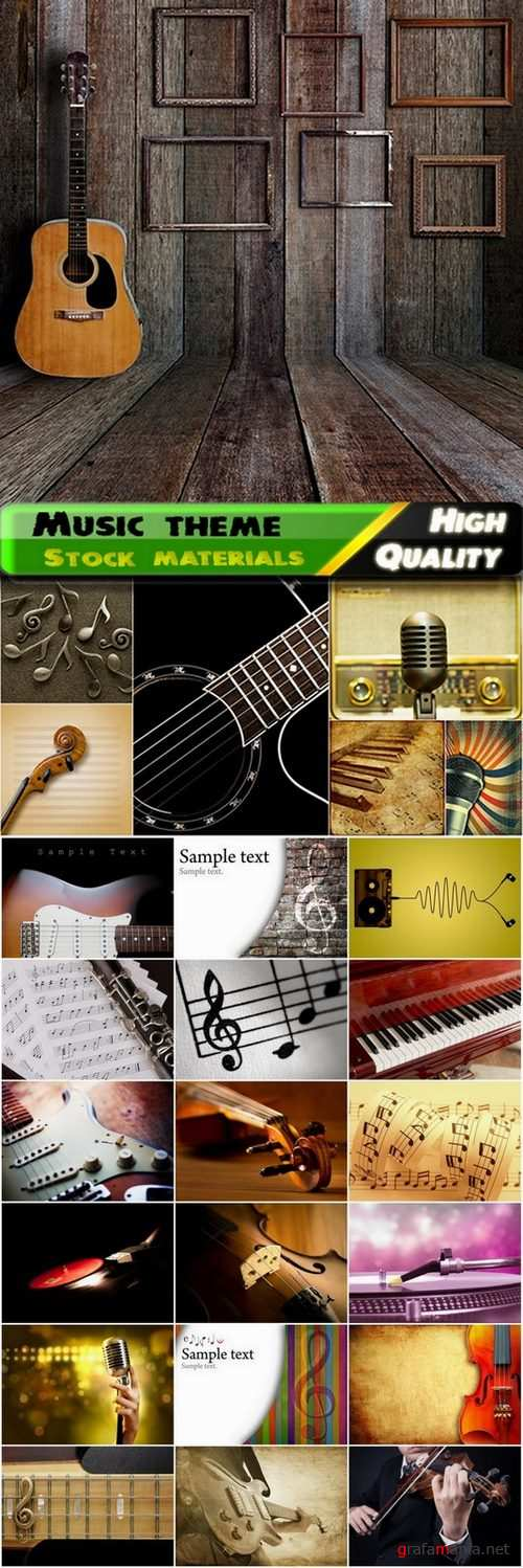 Musical Instruments and backgrounds with the theme music - 25 HQ Jpg