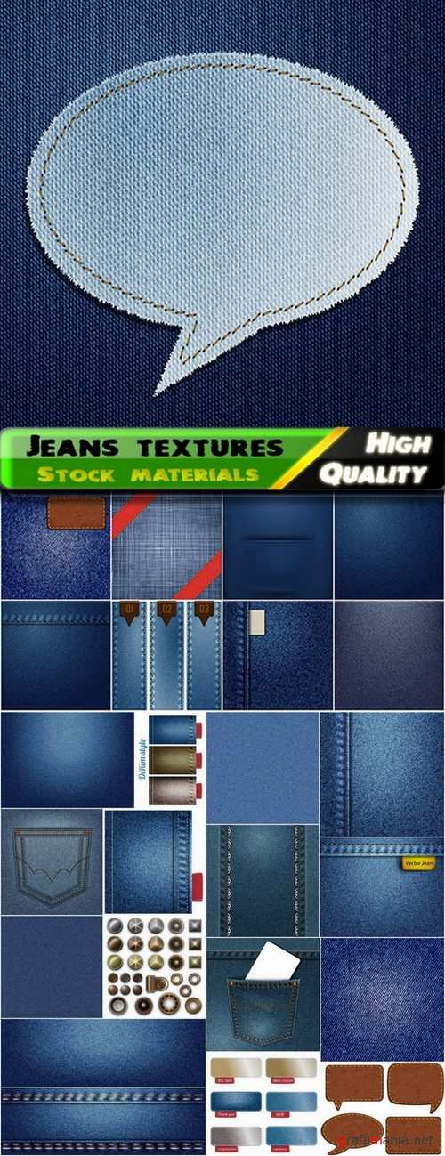 Cloth jeans and textures and buttons and rivets - 25 Eps