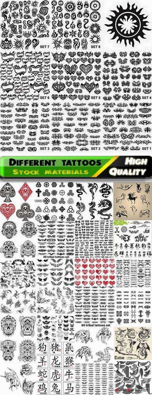 Set of different tattoos in vector from stock - 25 Eps