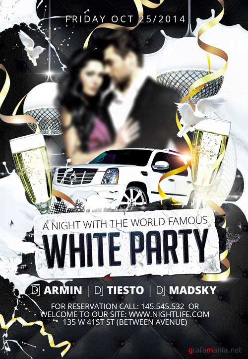 Flyer Template - White Party 2 Party