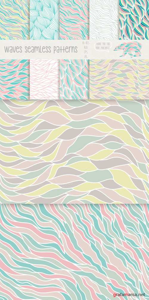 Waves seamless patterns - CM 80493