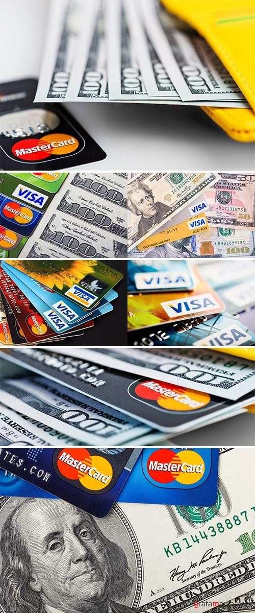 Stock Photo MasterCard credit cards with US dollar
