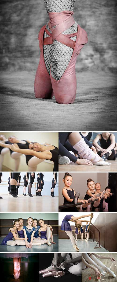 Stock Photo Professional ballerina putting on her ballet shoes