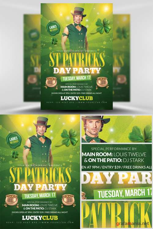 St Patricks Party Flyer Template 2