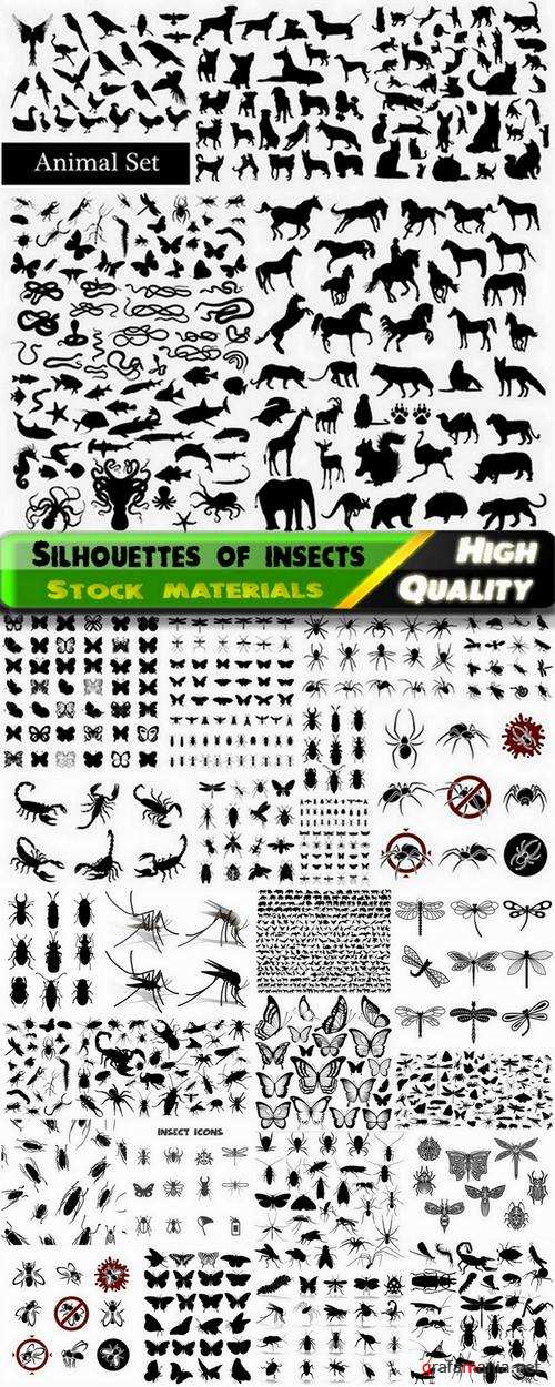 Set of silhouettes of insects and other animals - 25 Eps