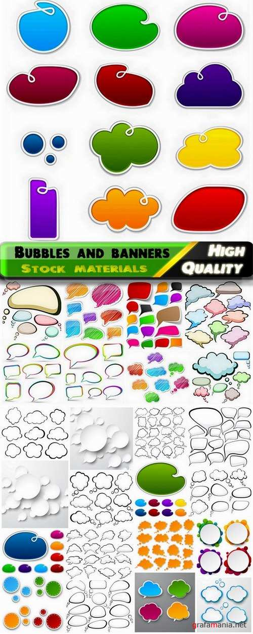 Colored vector bubbles and banners - 25 Eps