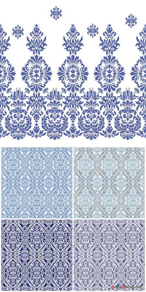 Vintage patterns, vector backgrounds with blue patterns