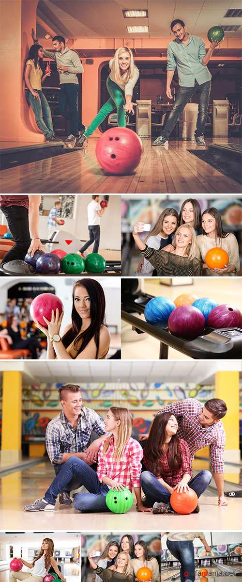 Stock Photo Group of four young smiling people playing bowling