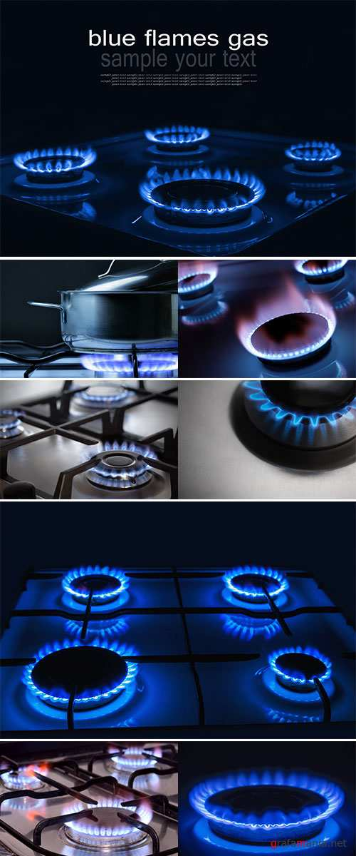 Stock Photo: Burning blue gas, Focus on the front edge of the gas burners