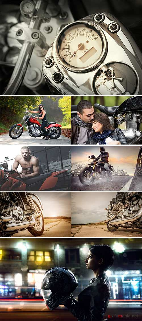 Stock Photo: Biker in helmet and leather jacket racing on the road