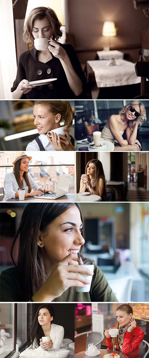 Stock Photo Happy young woman drinking coffee