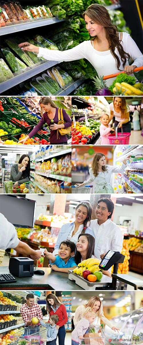 Stock Photo Happy people grocery shopping at the supermarket