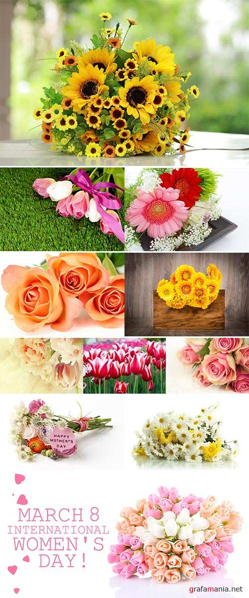 Stock Photo Bouquet of spring tulips on a green grass space for text
