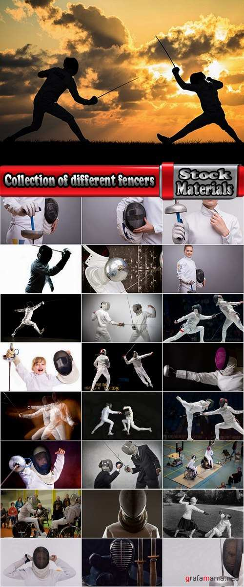 Collection of different fencers and fencing on a variety of backgrounds 25 HQ Jpeg