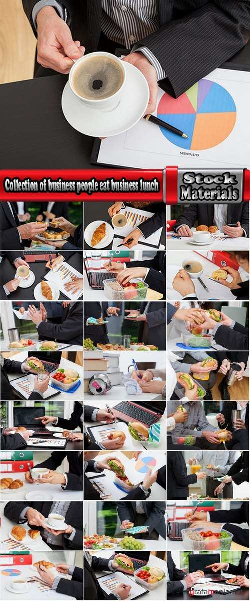 Collection of business people eat business lunch 25 HQ Jpeg