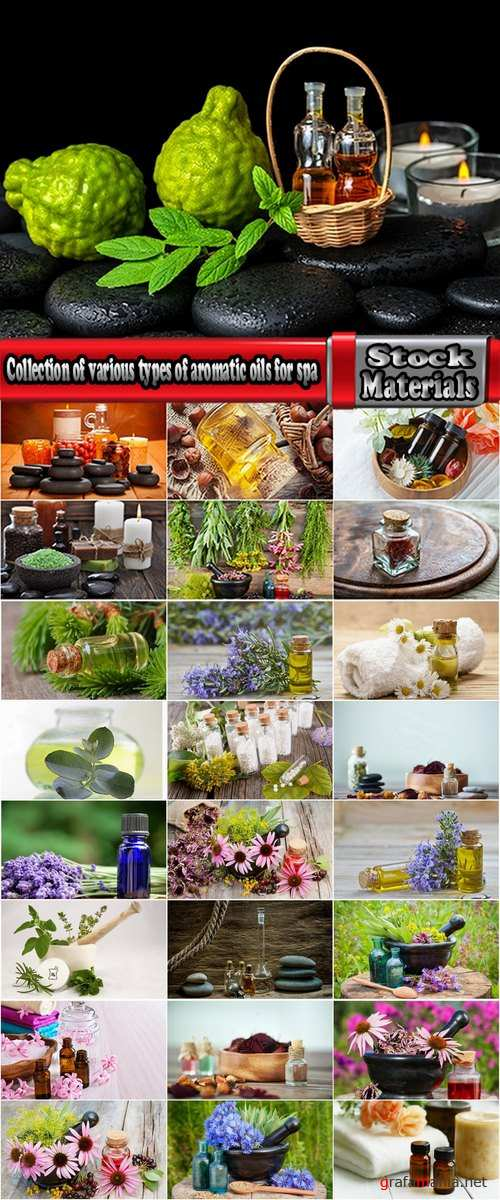 Collection of various types of aromatic oils for spa 25 HQ Jpeg
