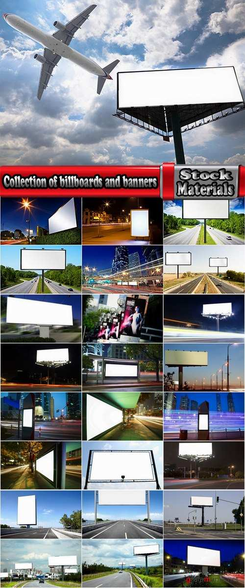 Collection of billboards and banners against the backdrop of the city and highways 25 HQ Jpeg