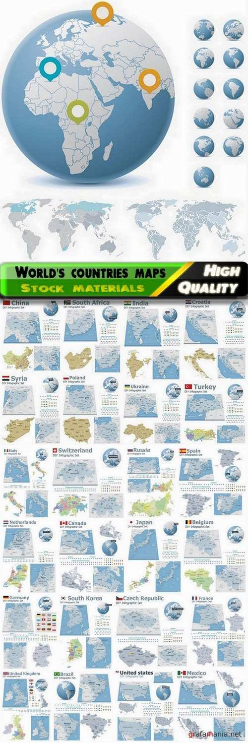 Set of world's countries detailed maps - 25 Eps