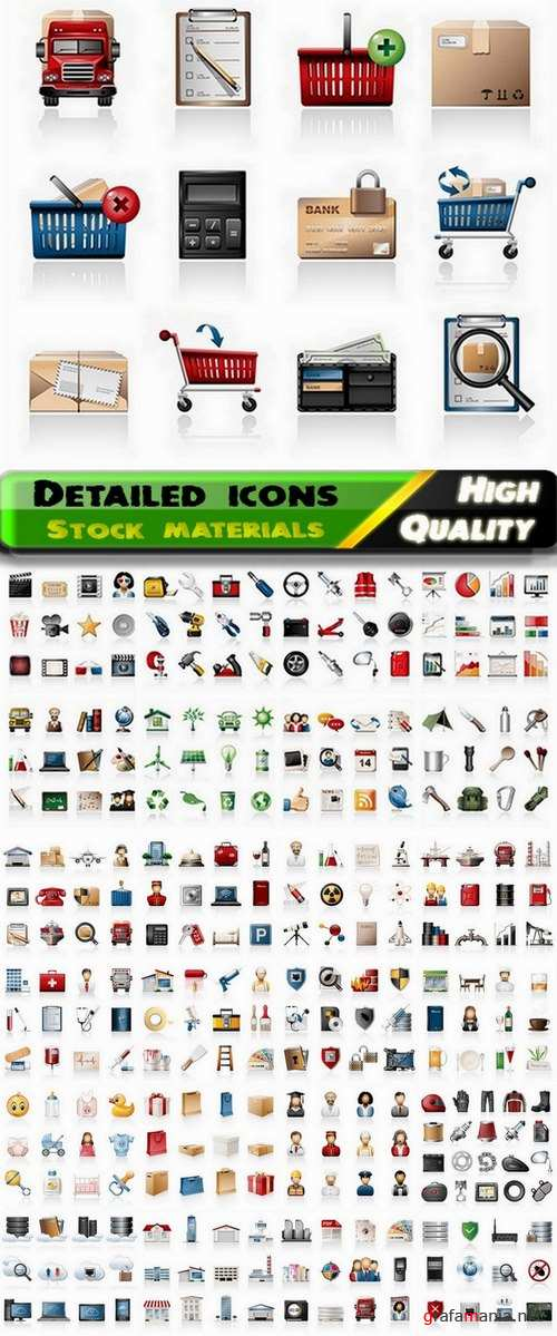 Detailed icons in vector set from stock #19 - 25 Eps