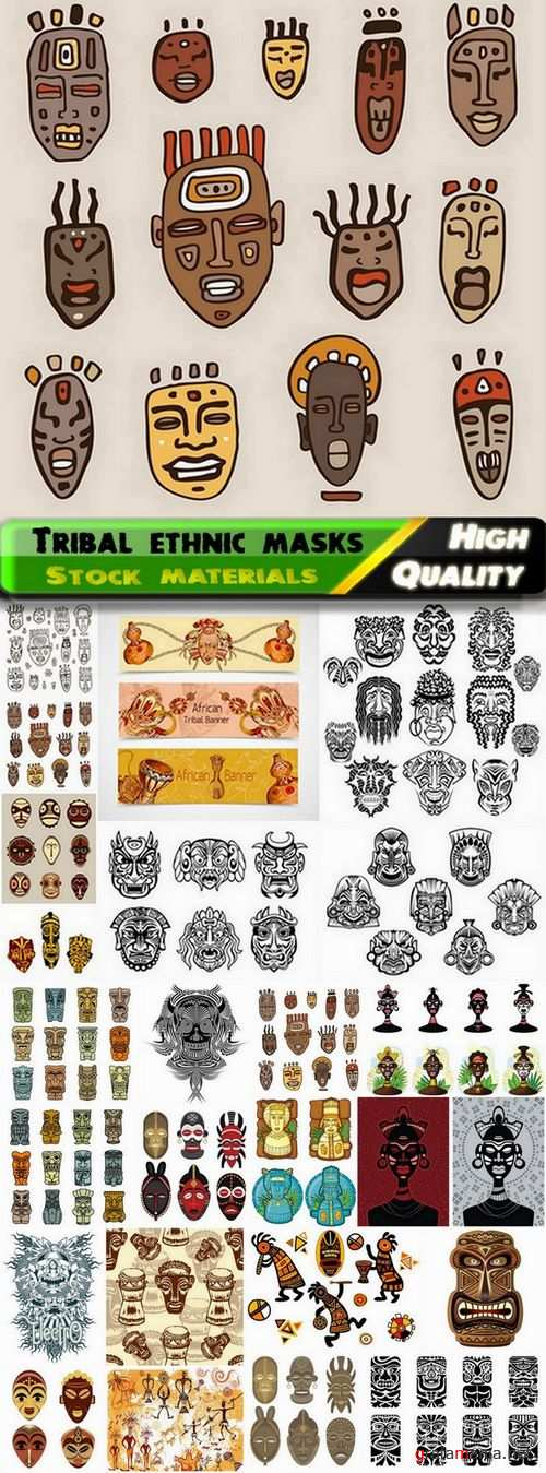 Tribal ethnic masks in vector from stock - 25 Eps