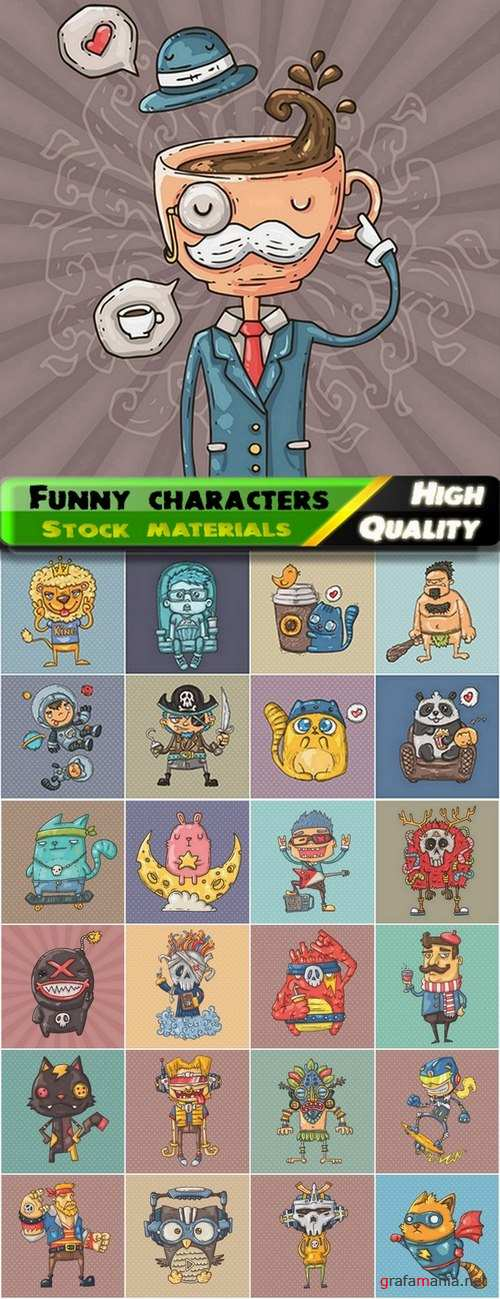 Funny characters and robots illustrations - 25 Eps