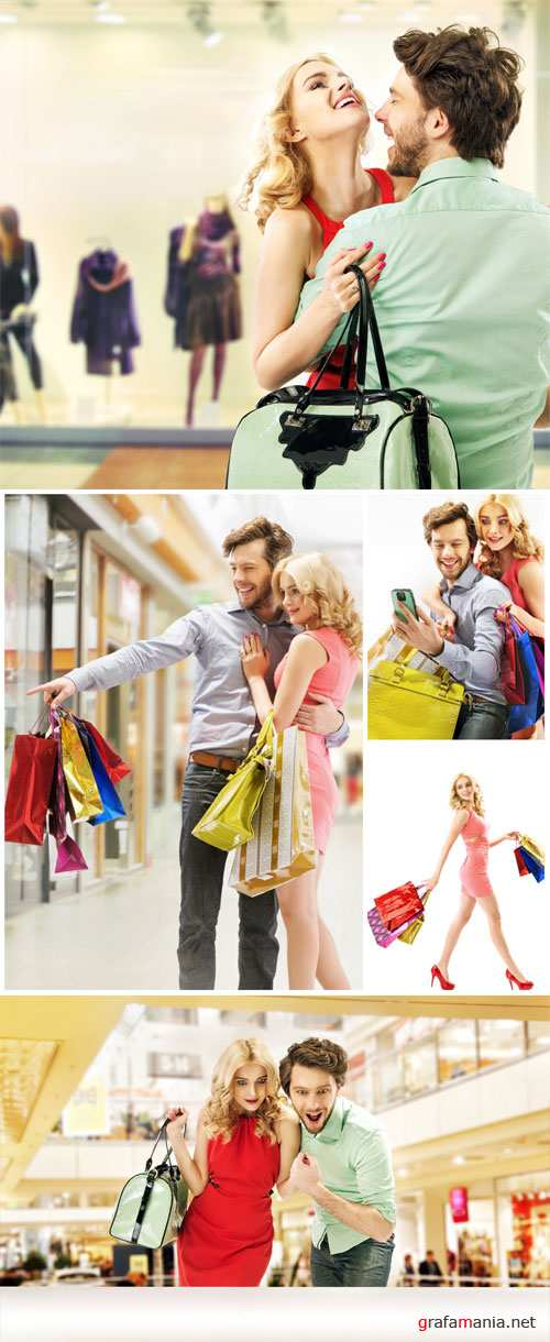 Man with a woman doing shopping - stock photos